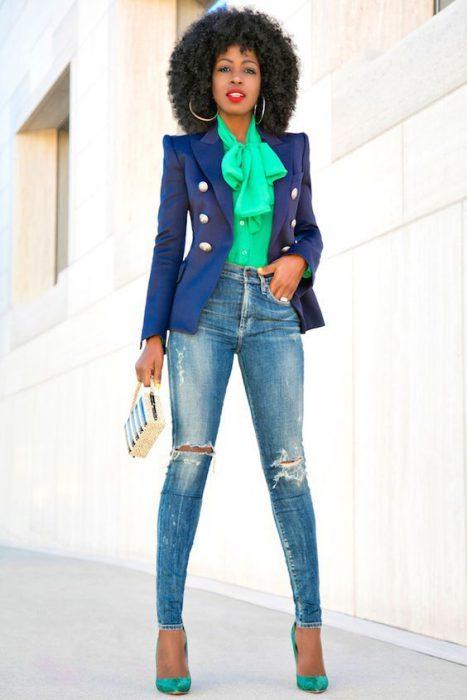 blazer entallado azul marino