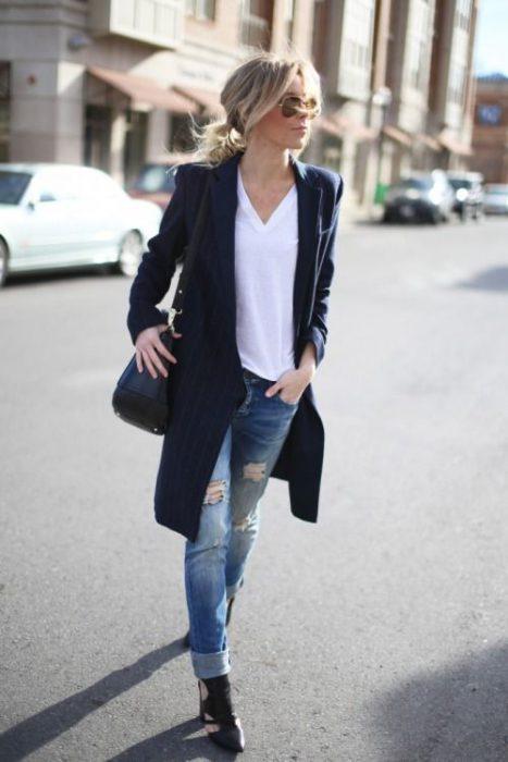 blazer largo azul casual