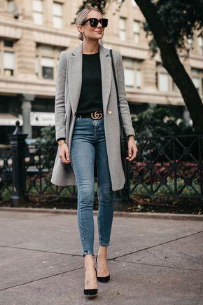 blazer largo con jeans chupin