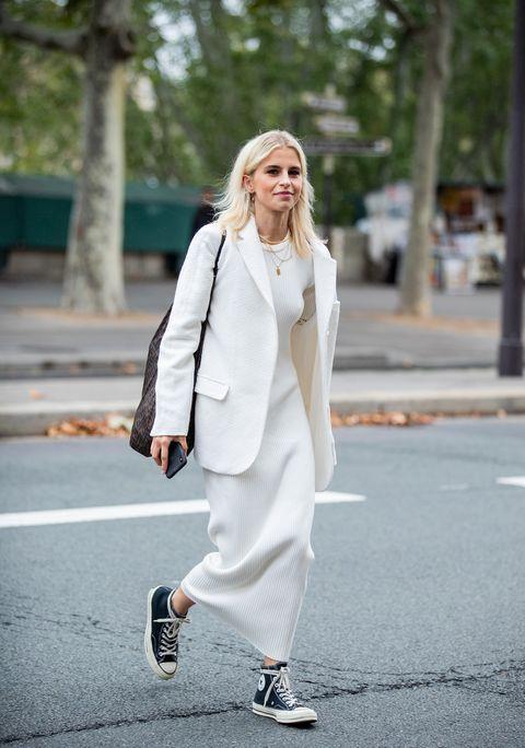 blazer largo y vestido tejido