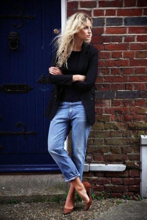 jeans mom y blazer