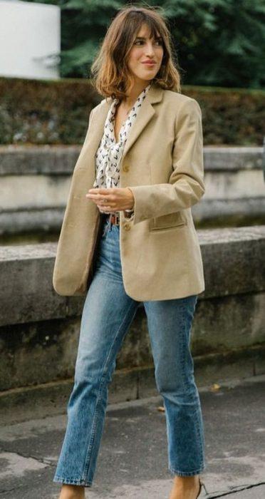 look casual con blazer beige 1