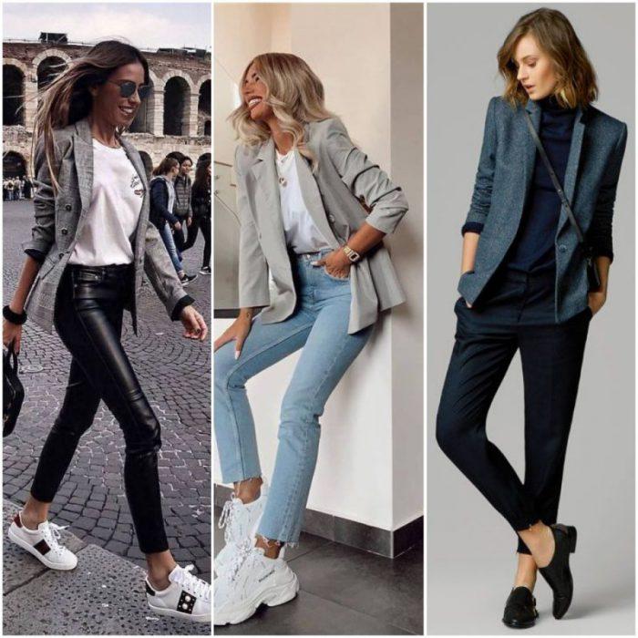 looks modernos mujer con blazer gris