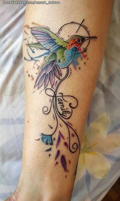 tatuaje colibri con nombre