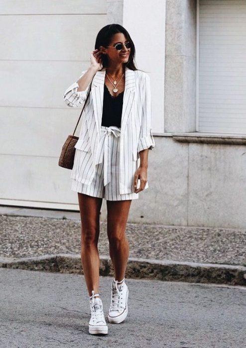 traje de lino con short casual
