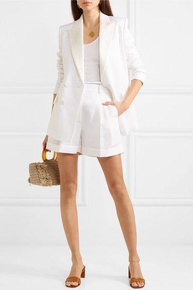 traje short blanco mujer