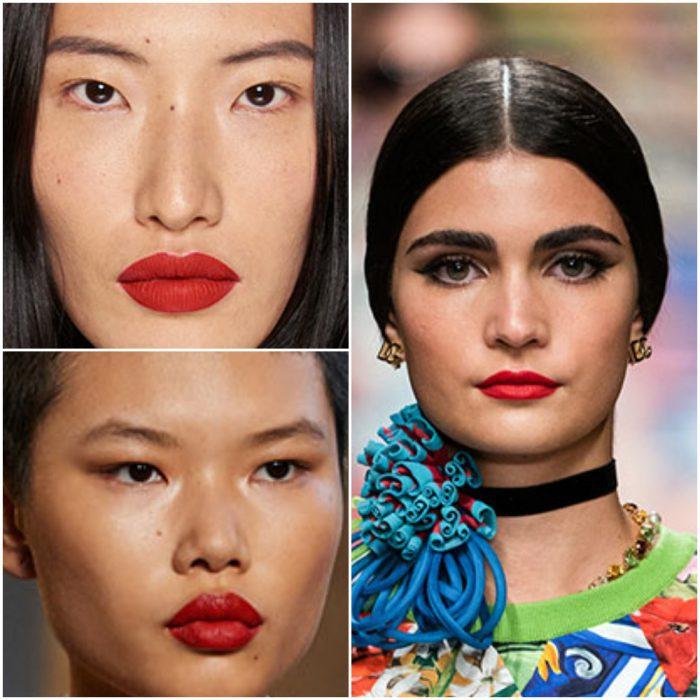 Labios rojos tendencia en maquillaje 2022