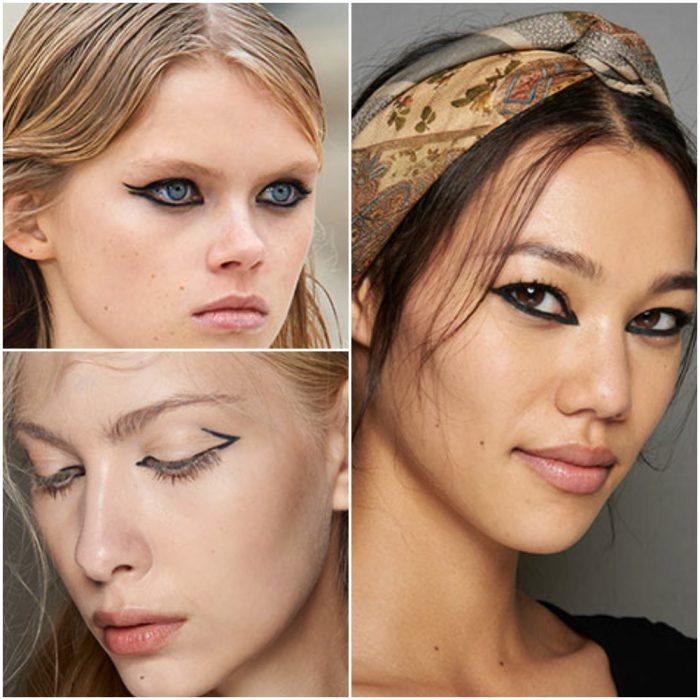 ojos delineados tendencia en maquillaje 2022