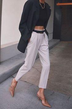 pantalon de vestir plisado top y blazer 1