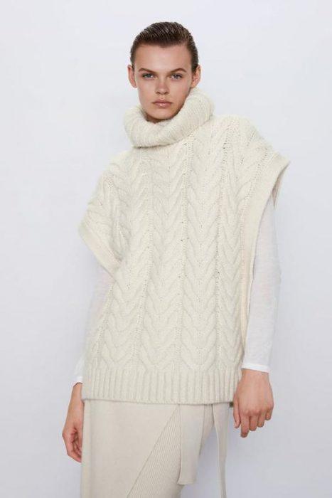 poncho trenzado tejido lana