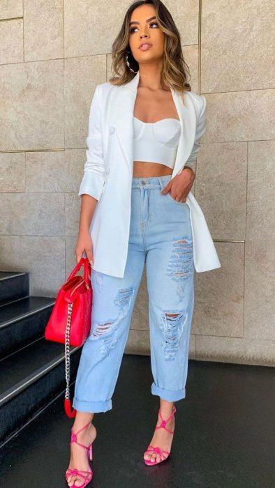 top blazer y jeans