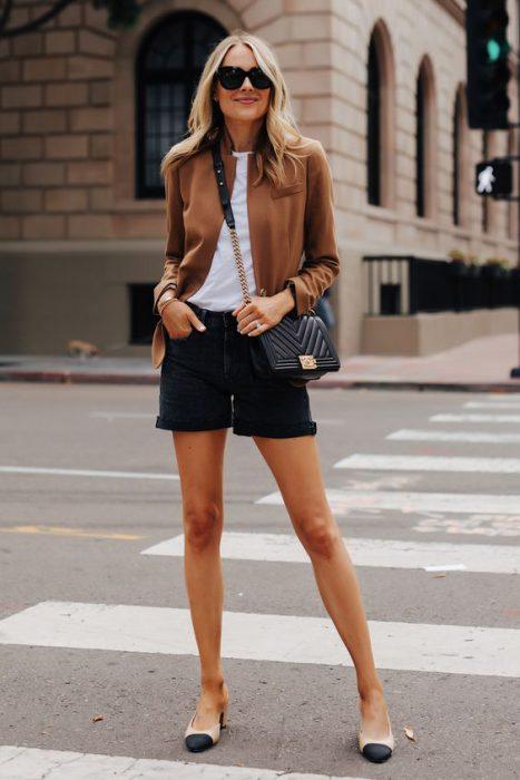 senoras short y blazer casual