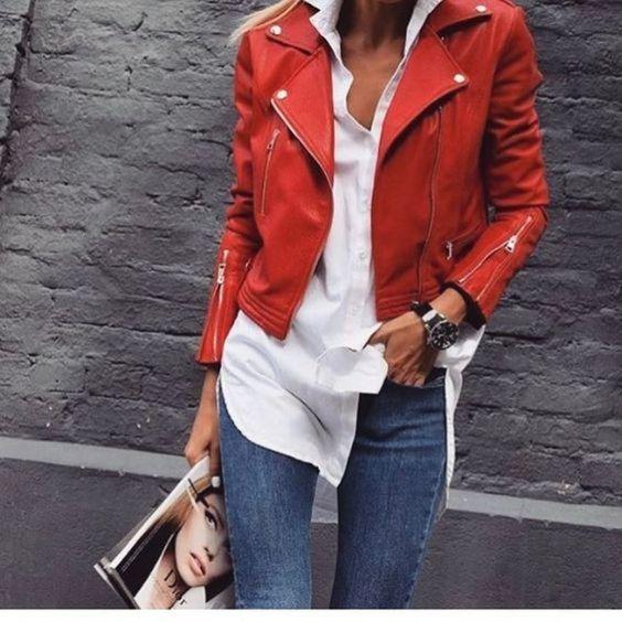camisa blanca y campera roja cuero 1