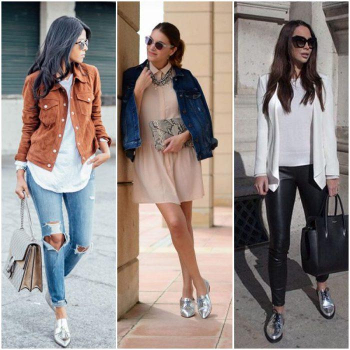outfit con zapatos plateados