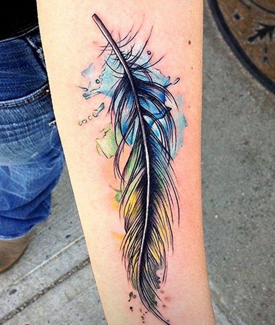 tatoo pluma de color