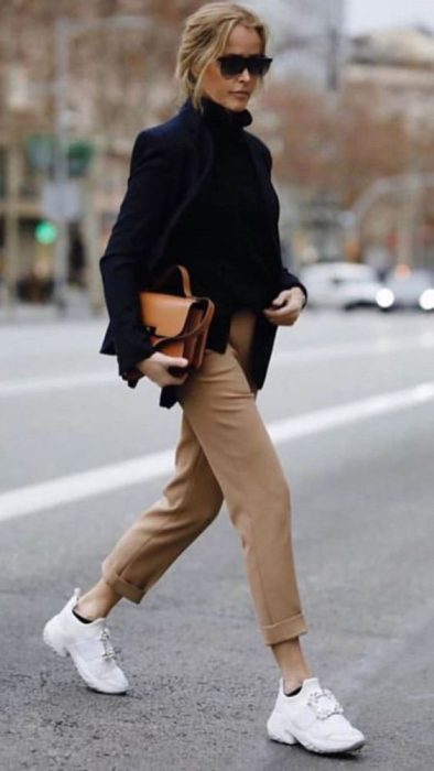look con zapatillas para la oficina invierno