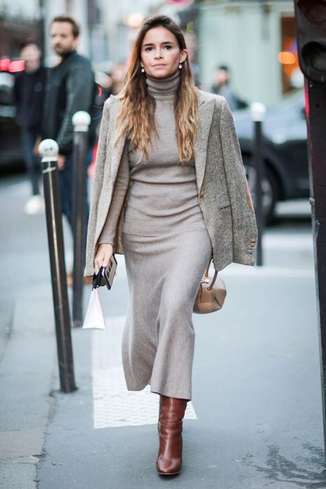 vestido tejido invierno oficina